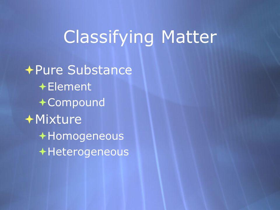Classifying Matter  Pure Substance  Element  Compound  Mixture  Homogeneous  Heterogeneous  Pure Substance  Element  Compound  Mixture  Hom
