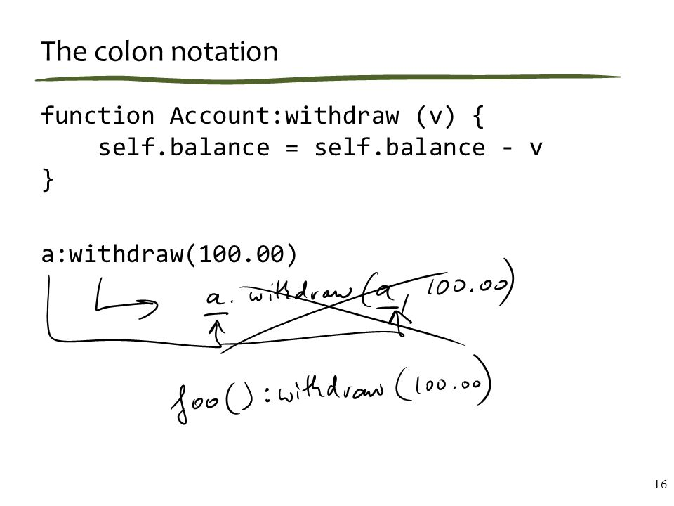 The colon notation function Account:withdraw (v) { self.balance = self.balance - v } a:withdraw(100.00) 16
