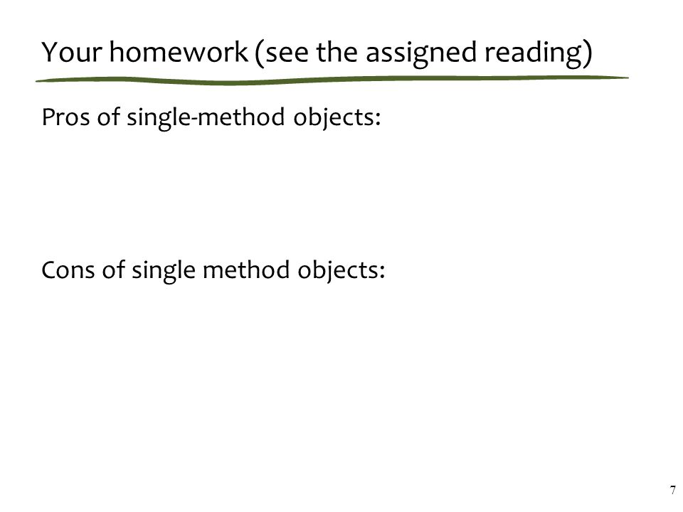 Table-of-Methods Approach 8