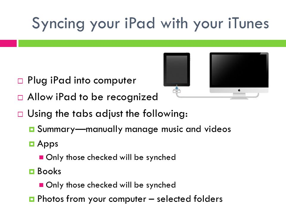 Syncing your iPad with your iTunes  Plug iPad into computer  Allow iPad to be recognized  Using the tabs adjust the following:  Summary—manually manage music and videos  Apps Only those checked will be synched  Books Only those checked will be synched  Photos from your computer – selected folders