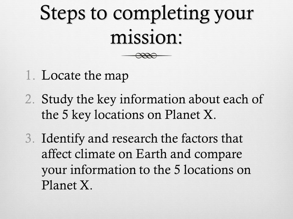 Steps to completing your mission: 1.Loca te the map 2.Study the key information about each of the 5 key locations on Planet X.