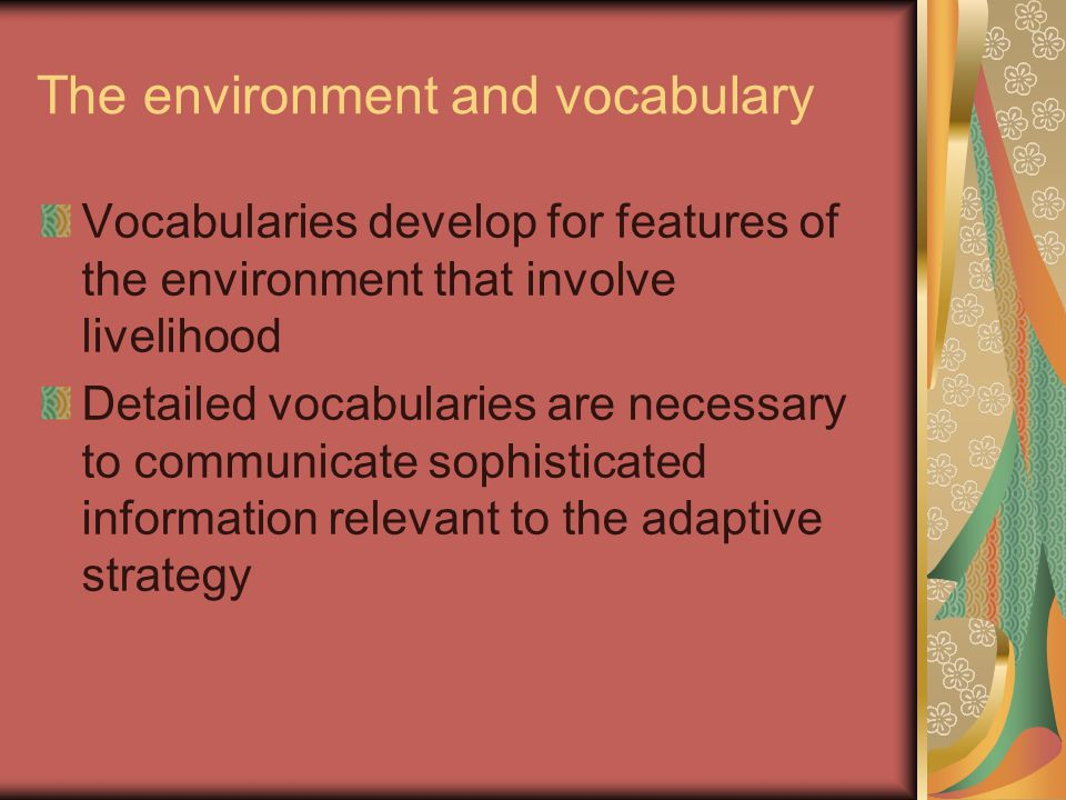The environment and vocabulary Vocabularies develop for features of the environment that involve livelihood Detailed vocabularies are necessary to communicate sophisticated information relevant to the adaptive strategy