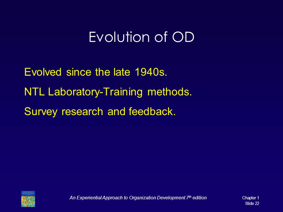 An Experiential Approach to Organization Development 7 th edition Chapter 1 Slide 22 Evolution of OD Evolved since the late 1940s.