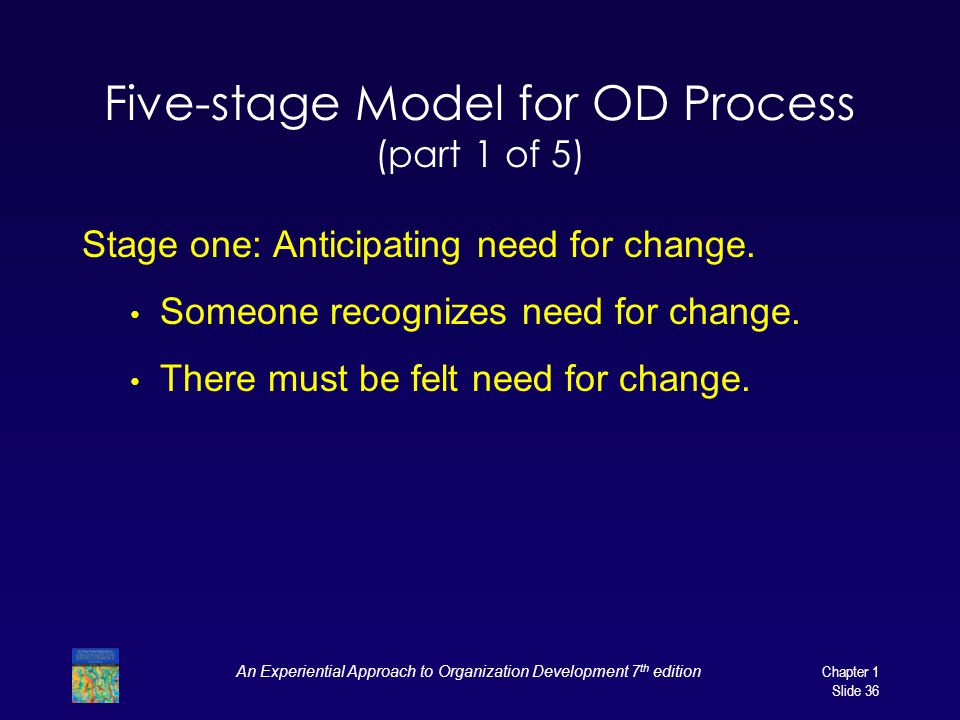 An Experiential Approach to Organization Development 7 th edition Chapter 1 Slide 36 Five-stage Model for OD Process (part 1 of 5) Stage one: Anticipa