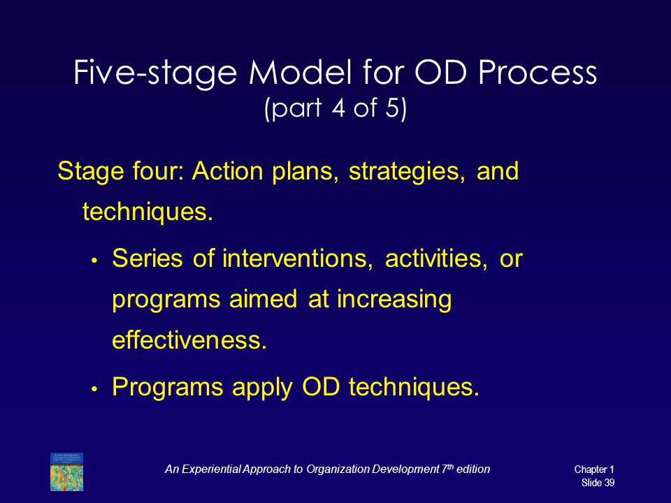 An Experiential Approach to Organization Development 7 th edition Chapter 1 Slide 39 Five-stage Model for OD Process (part 4 of 5) Stage four: Action plans, strategies, and techniques.
