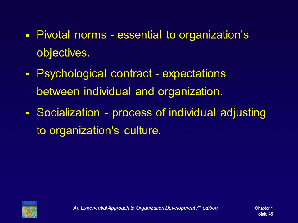 An Experiential Approach to Organization Development 7 th edition Chapter 1 Slide 46  Pivotal norms - essential to organization s objectives.