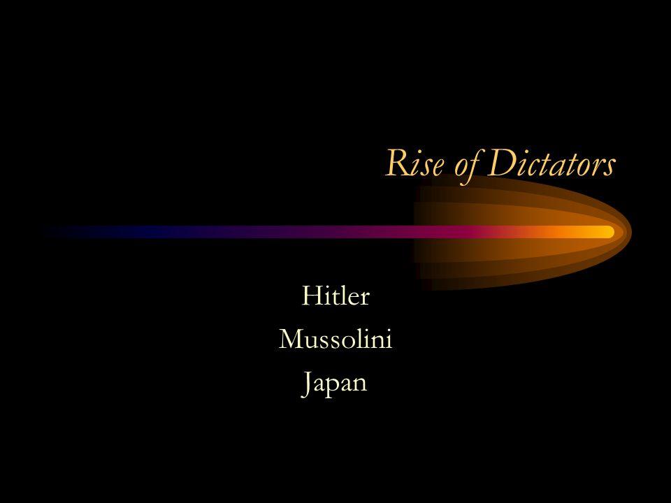 Rise of Dictators Hitler Mussolini Japan