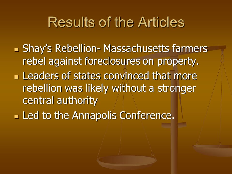 Annapolis Conference The conference was called to discuss how to fix the government to avoid another revolution The conference was called to discuss how to fix the government to avoid another revolution States were in debt States were in debt Taxes to high- Shay's Rebellion Taxes to high- Shay's Rebellion Interstate commerce a mess Interstate commerce a mess Foreign trade problems Foreign trade problems