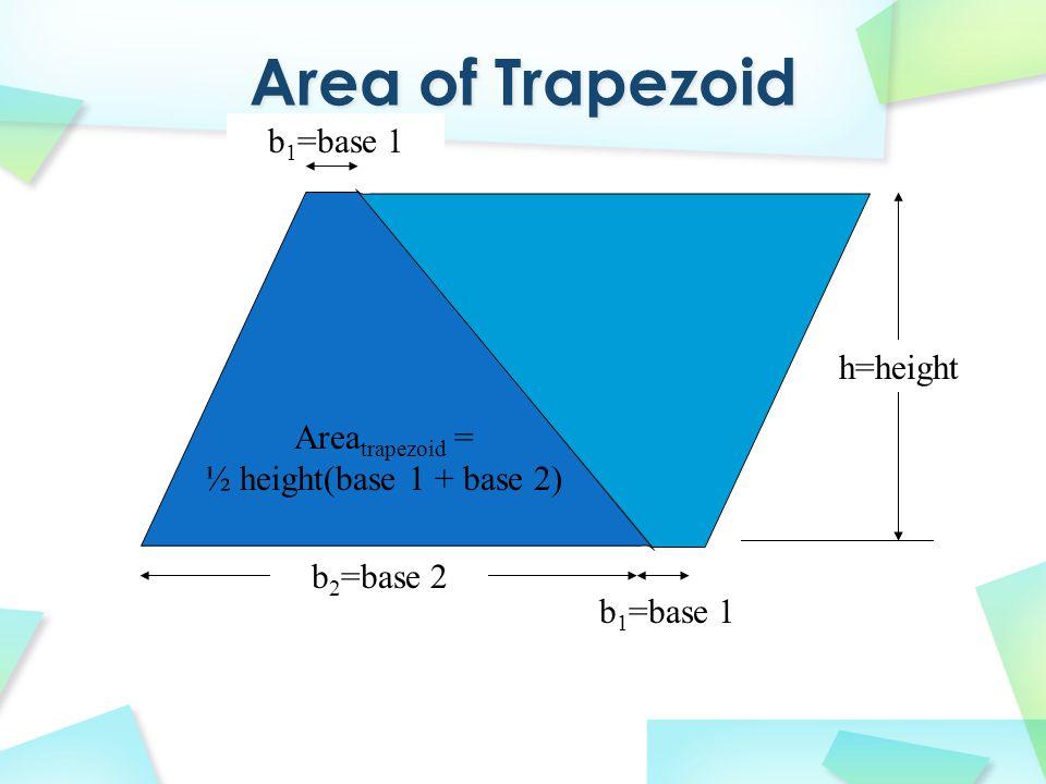 h=height b 2 =base 2 b 1 =base 1 Area trapezoid = ½ height(base 1 + base 2)
