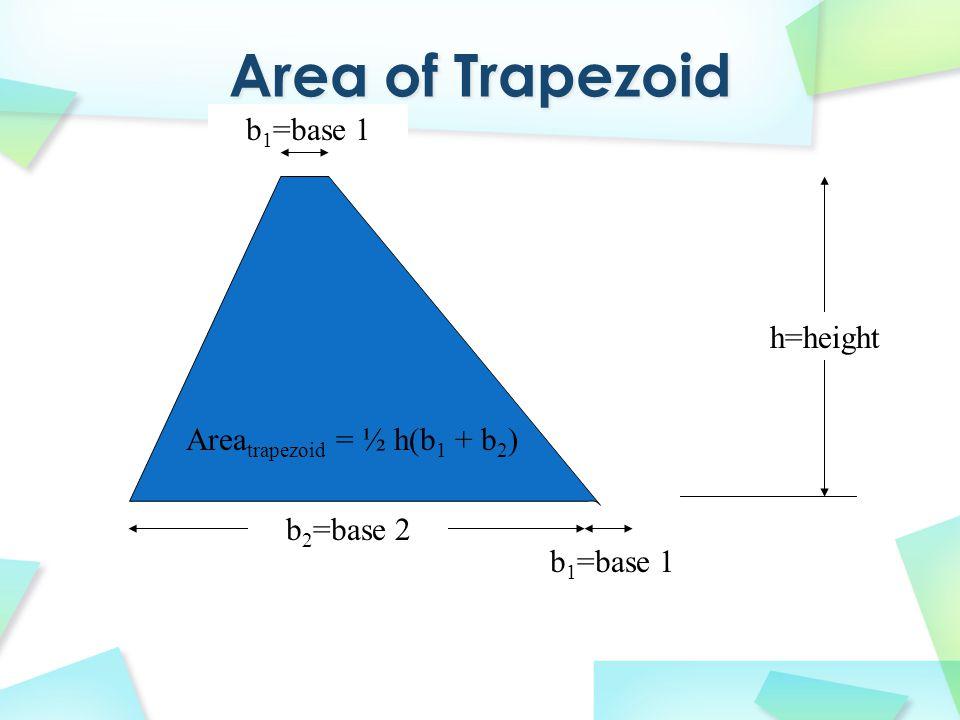 h=height b 2 =base 2 b 1 =base 1 Area trapezoid = ½ h(b 1 + b 2 )