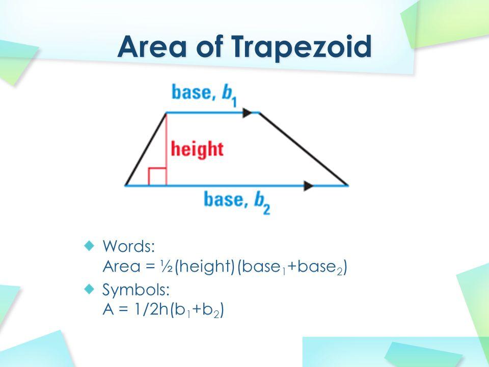 Words: Area = ½(height)(base 1 +base 2 ) Symbols: A = 1/2h(b 1 +b 2 )