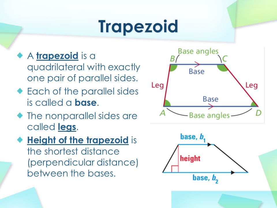 A trapezoid is a quadrilateral with exactly one pair of parallel sides. Each of the parallel sides is called a base. The nonparallel sides are called