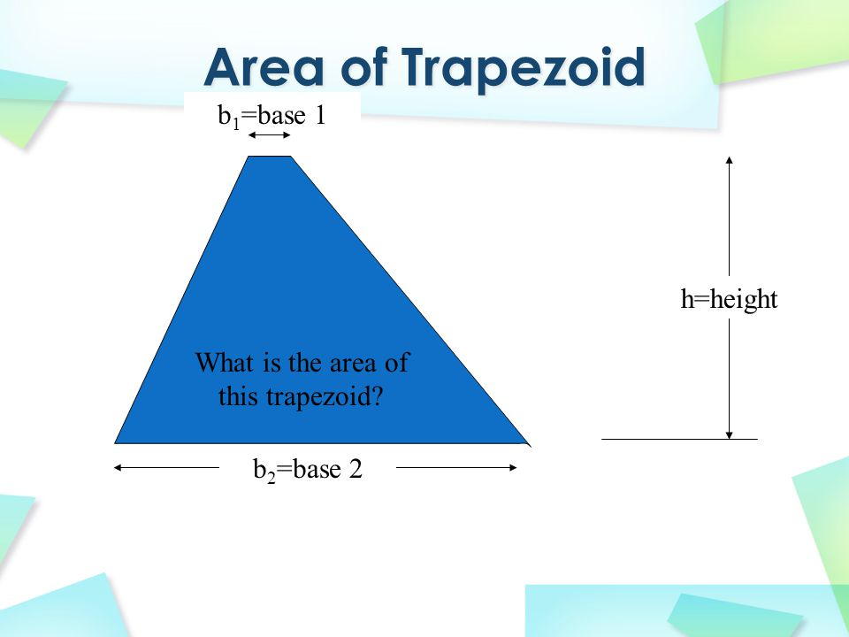COPY THIS! h=height b 2 =base 2 b 1 =base 1 What is the area of this trapezoid?