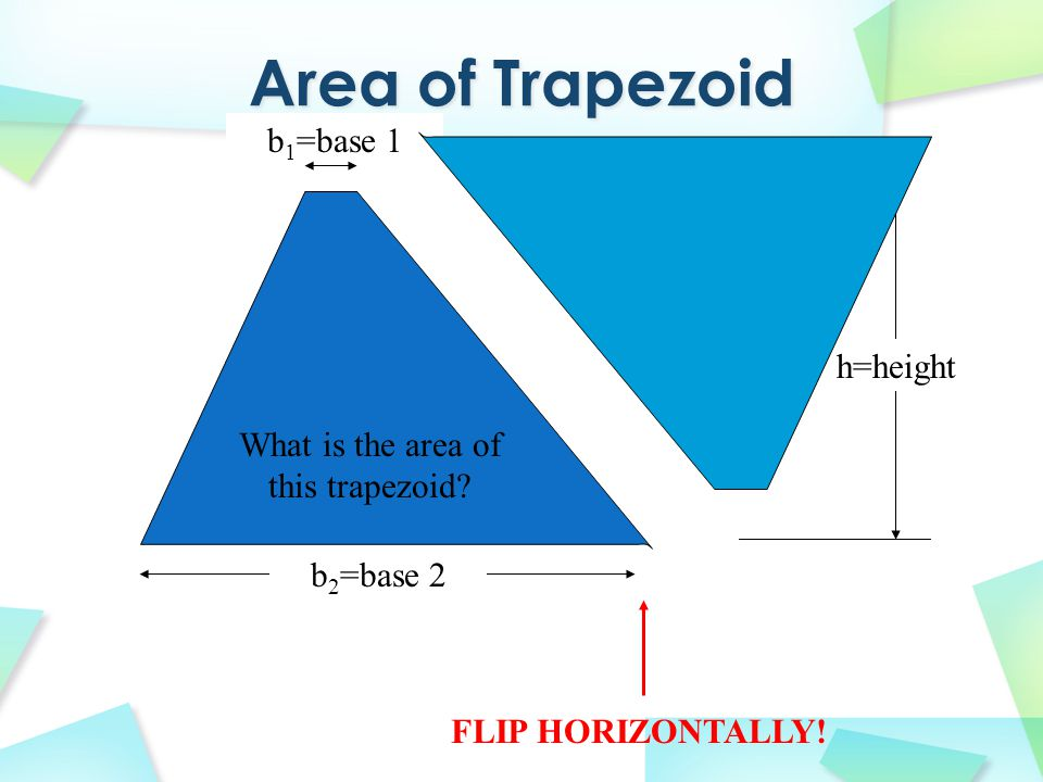 h=height TRANSLATE TO HERE! b 2 =base 2 b 1 =base 1 What is the area of this trapezoid?
