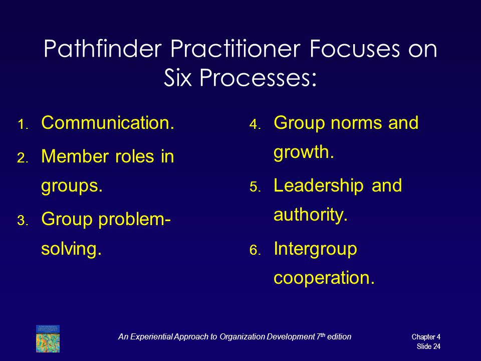 An Experiential Approach to Organization Development 7 th edition Chapter 4 Slide 24 Pathfinder Practitioner Focuses on Six Processes: 1.