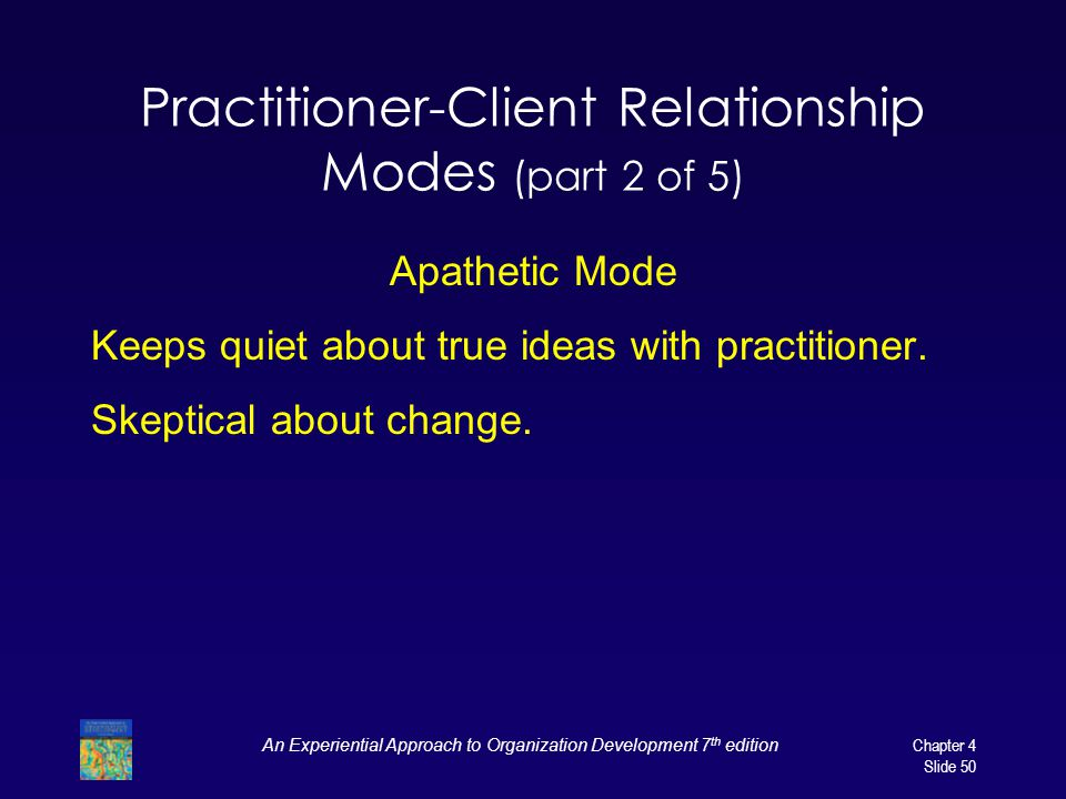 An Experiential Approach to Organization Development 7 th edition Chapter 4 Slide 50 Practitioner-Client Relationship Modes (part 2 of 5) Apathetic Mode Keeps quiet about true ideas with practitioner.
