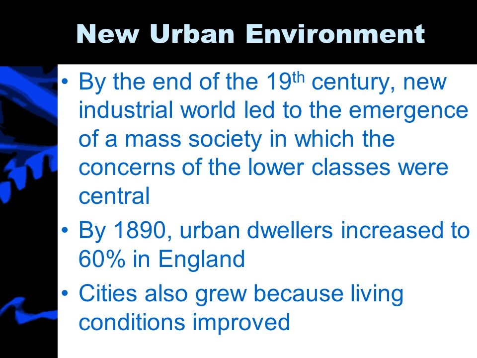 New Urban Environment By the end of the 19 th century, new industrial world led to the emergence of a mass society in which the concerns of the lower