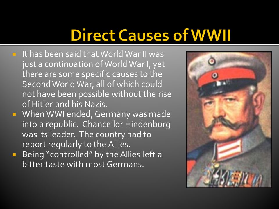  After WWI, the Treaty of Versailles laid almost impossible conditions upon the German volk (people).