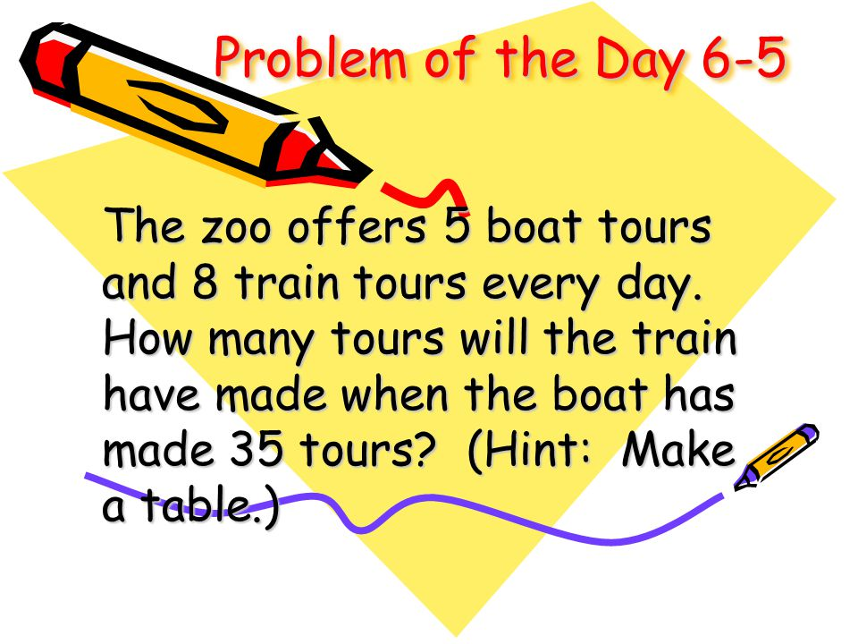 Problem of the Day 6-5 The zoo offers 5 boat tours and 8 train tours every day. How many tours will the train have made when the boat has made 35 tour