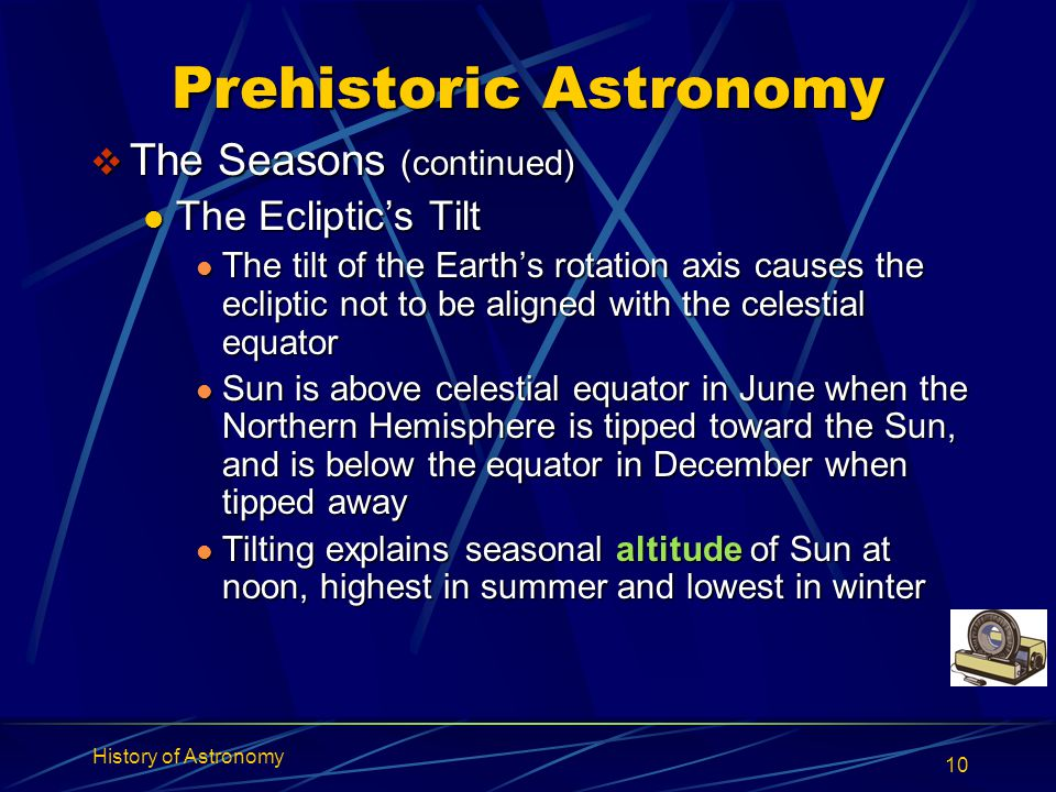 History of Astronomy 10 Prehistoric Astronomy  The Seasons (continued) The Ecliptic's Tilt The Ecliptic's Tilt The tilt of the Earth's rotation axis