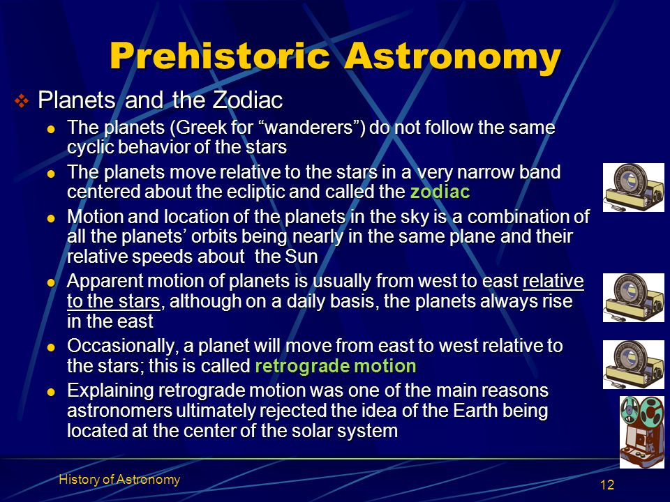"""History of Astronomy 12 Prehistoric Astronomy  Planets and the Zodiac The planets (Greek for """"wanderers"""") do not follow the same cyclic behavior of t"""