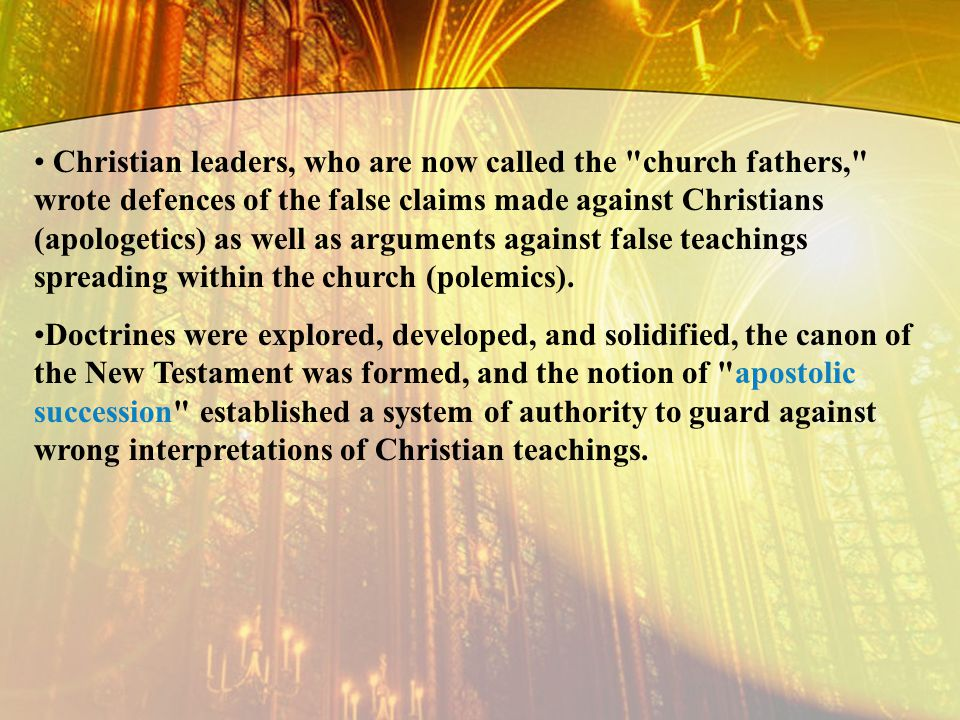 Christian leaders, who are now called the