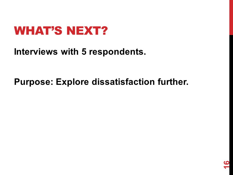 WHAT'S NEXT? Interviews with 5 respondents. Purpose: Explore dissatisfaction further. 16