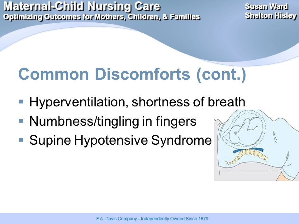 Maternal-Child Nursing Care Optimizing Outcomes for Mothers, Children, & Families Maternal-Child Nursing Care Optimizing Outcomes for Mothers, Children, & Families Susan Ward Shelton Hisley Susan Ward Shelton Hisley Common Discomforts (cont.)  Hyperventilation, shortness of breath  Numbness/tingling in fingers  Supine Hypotensive Syndrome
