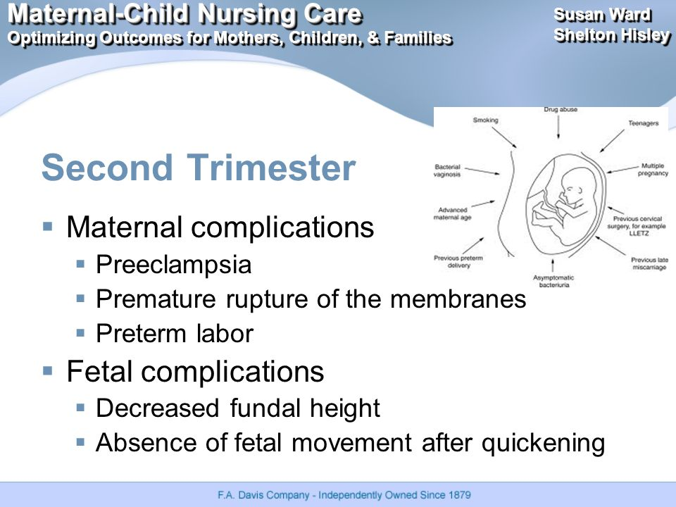 Maternal-Child Nursing Care Optimizing Outcomes for Mothers, Children, & Families Maternal-Child Nursing Care Optimizing Outcomes for Mothers, Children, & Families Susan Ward Shelton Hisley Susan Ward Shelton Hisley Second Trimester  Maternal complications  Preeclampsia  Premature rupture of the membranes  Preterm labor  Fetal complications  Decreased fundal height  Absence of fetal movement after quickening