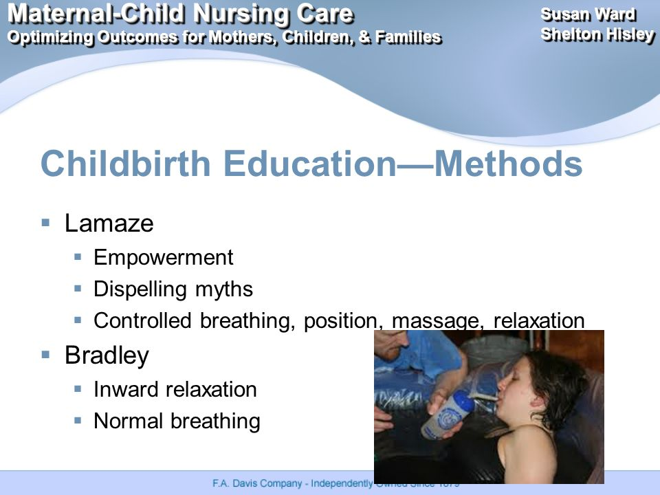Maternal-Child Nursing Care Optimizing Outcomes for Mothers, Children, & Families Maternal-Child Nursing Care Optimizing Outcomes for Mothers, Children, & Families Susan Ward Shelton Hisley Susan Ward Shelton Hisley Childbirth Education—Methods  Lamaze  Empowerment  Dispelling myths  Controlled breathing, position, massage, relaxation  Bradley  Inward relaxation  Normal breathing