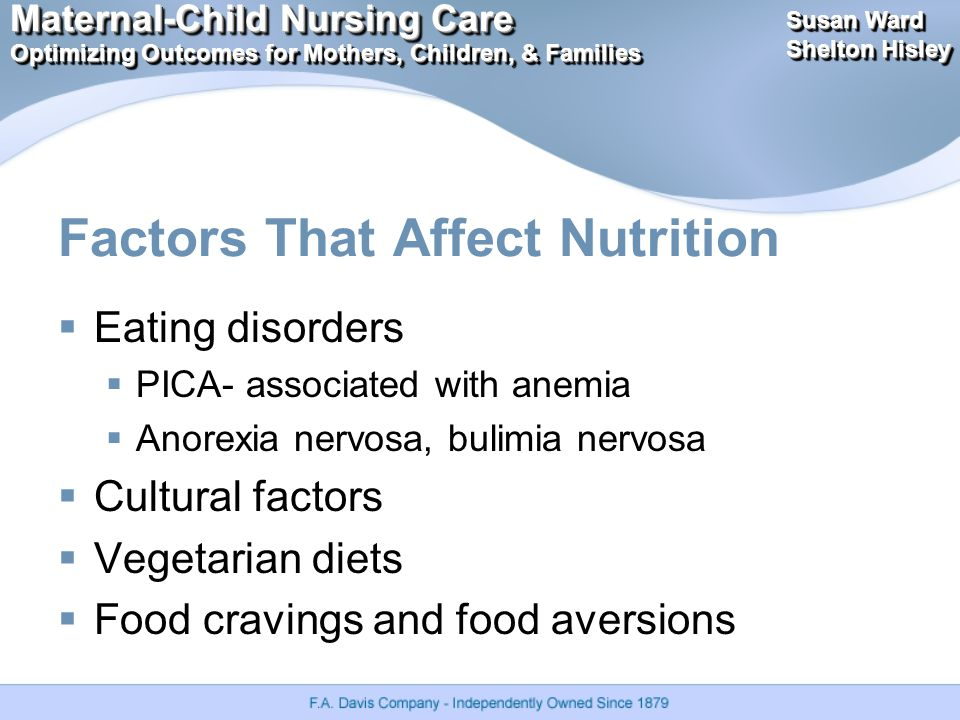Maternal-Child Nursing Care Optimizing Outcomes for Mothers, Children, & Families Maternal-Child Nursing Care Optimizing Outcomes for Mothers, Children, & Families Susan Ward Shelton Hisley Susan Ward Shelton Hisley Factors That Affect Nutrition  Eating disorders  PICA- associated with anemia  Anorexia nervosa, bulimia nervosa  Cultural factors  Vegetarian diets  Food cravings and food aversions
