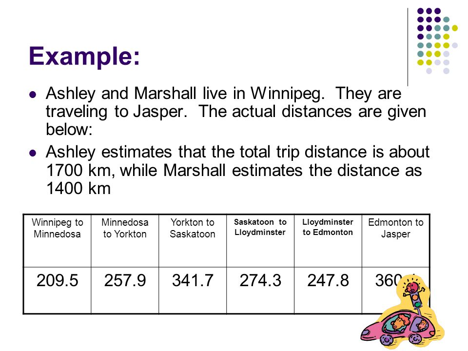 Example: Ashley and Marshall live in Winnipeg. They are traveling to Jasper.