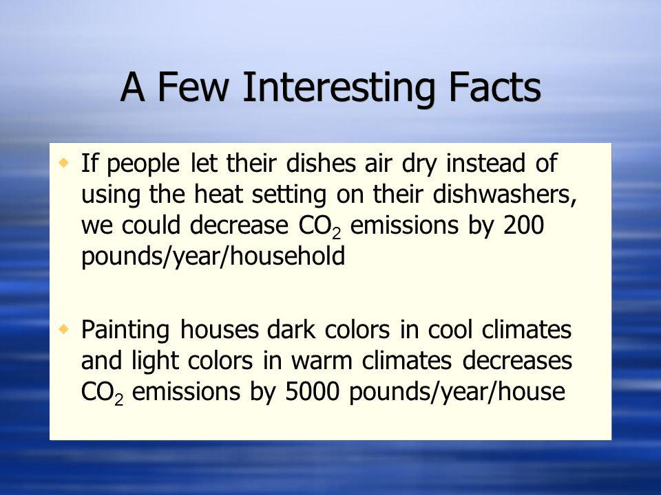 A Few Interesting Facts  If people let their dishes air dry instead of using the heat setting on their dishwashers, we could decrease CO 2 emissions by 200 pounds/year/household  Painting houses dark colors in cool climates and light colors in warm climates decreases CO 2 emissions by 5000 pounds/year/house  If people let their dishes air dry instead of using the heat setting on their dishwashers, we could decrease CO 2 emissions by 200 pounds/year/household  Painting houses dark colors in cool climates and light colors in warm climates decreases CO 2 emissions by 5000 pounds/year/house