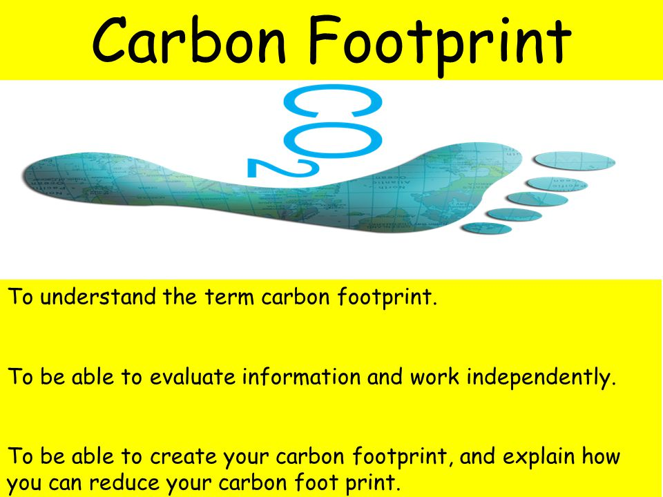 To understand the term carbon footprint. To be able to evaluate information and work independently.