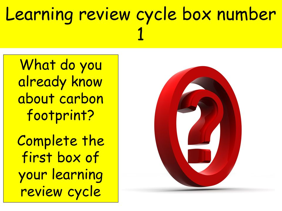 Learning review cycle box number 1 What do you already know about carbon footprint.