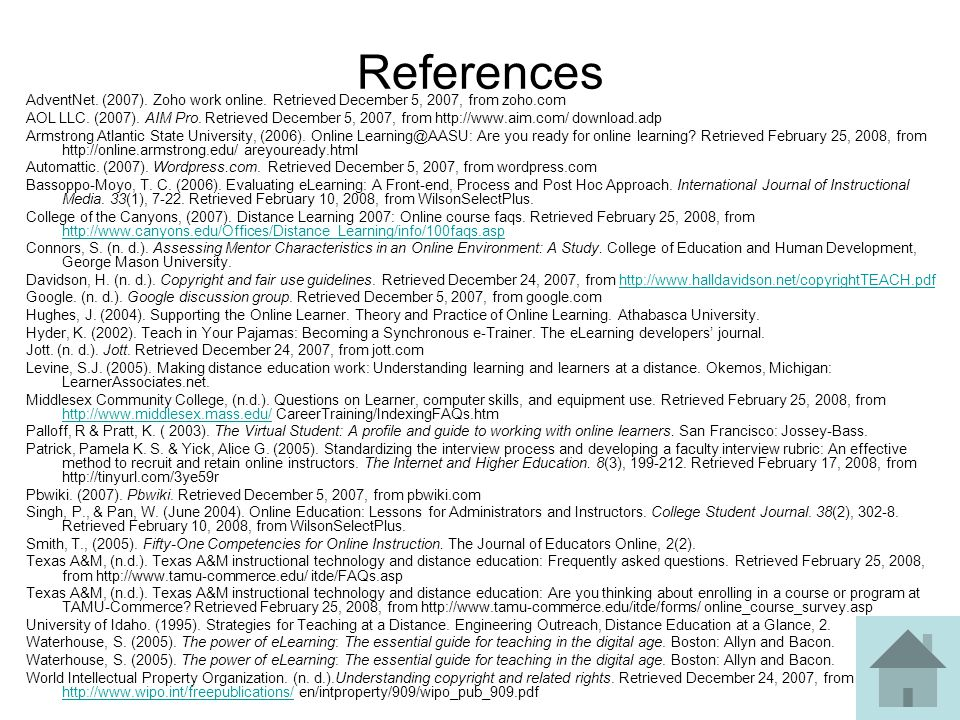References AdventNet. (2007). Zoho work online. Retrieved December 5, 2007, from zoho.com AOL LLC. (2007). AIM Pro. Retrieved December 5, 2007, from h