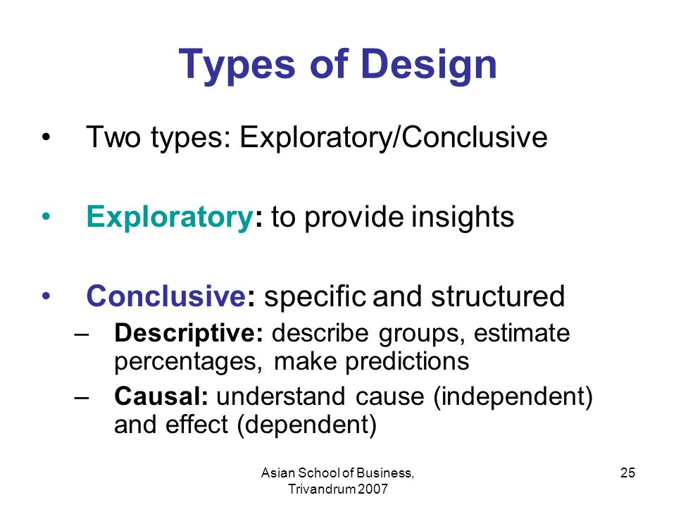 Asian School of Business, Trivandrum 2007 25 Types of Design Two types: Exploratory/Conclusive Exploratory: to provide insights Conclusive: specific a