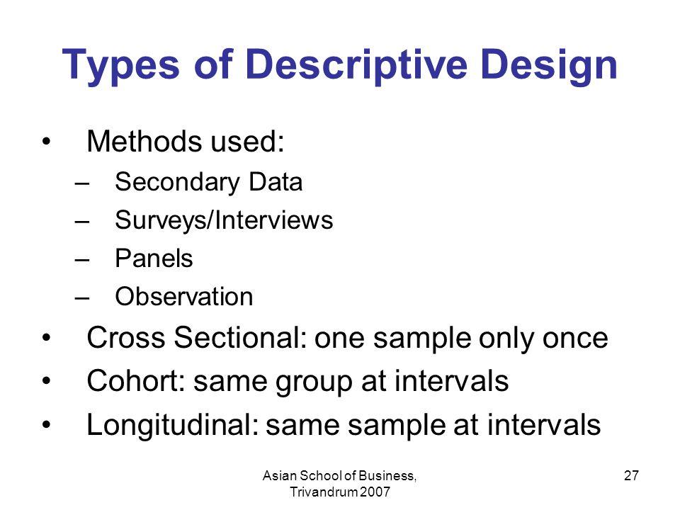 Asian School of Business, Trivandrum 2007 27 Types of Descriptive Design Methods used: –Secondary Data –Surveys/Interviews –Panels –Observation Cross