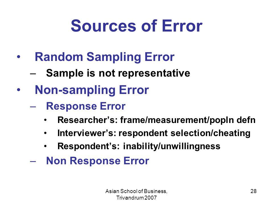 Asian School of Business, Trivandrum 2007 28 Sources of Error Random Sampling Error –Sample is not representative Non-sampling Error –Response Error R