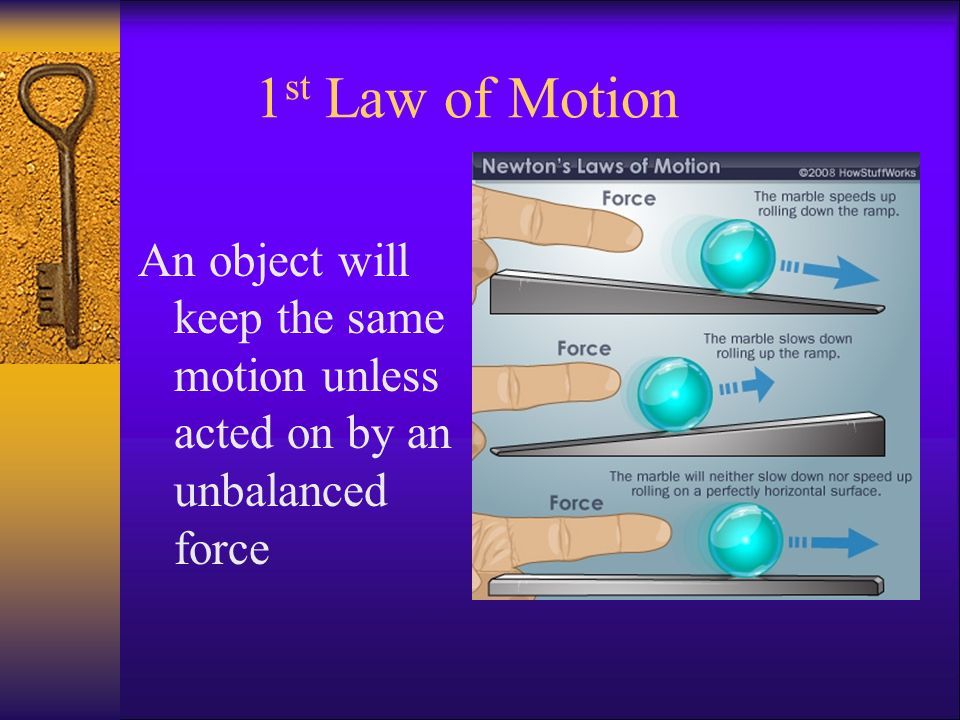 1 st Law of Motion An object will keep the same motion unless acted on by an unbalanced force