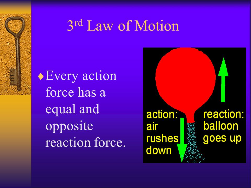 3 rd Law of Motion  Every action force has a equal and opposite reaction force.
