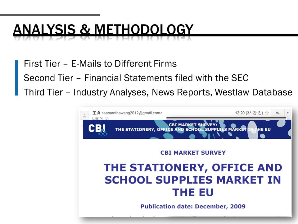 First Tier – E-Mails to Different Firms Second Tier – Financial Statements filed with the SEC Third Tier – Industry Analyses, News Reports, Westlaw Database