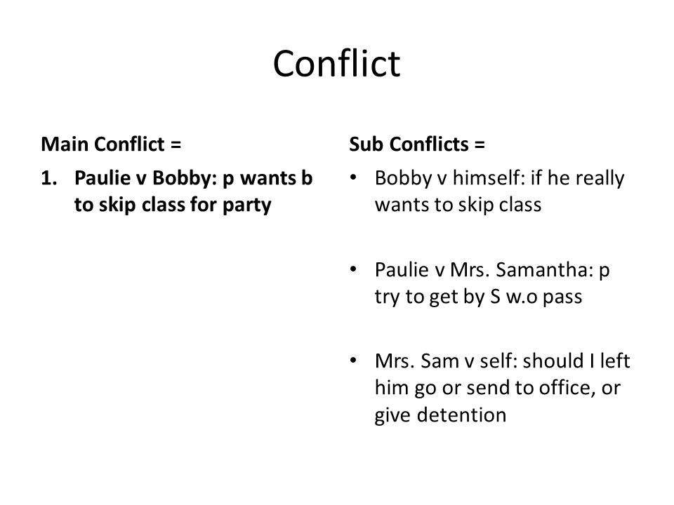 Conflict Main Conflict = 1.Paulie v Bobby: p wants b to skip class for party Sub Conflicts = Bobby v himself: if he really wants to skip class Paulie v Mrs.