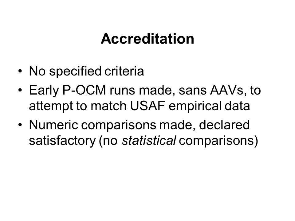 Accreditation No specified criteria Early P-OCM runs made, sans AAVs, to attempt to match USAF empirical data Numeric comparisons made, declared satis