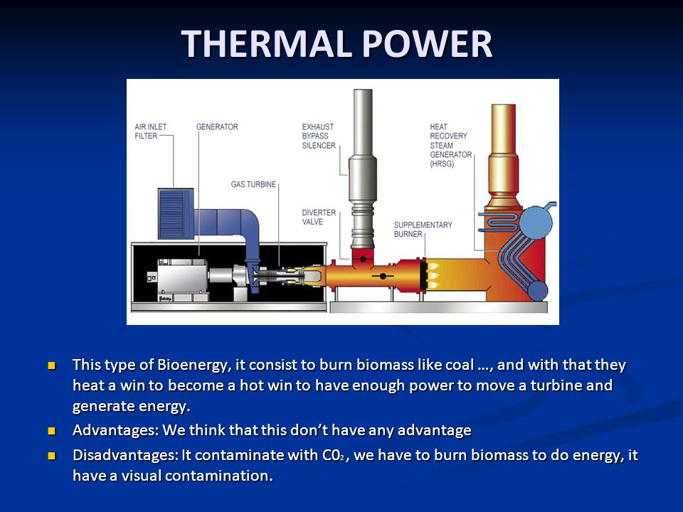 THERMAL POWER This type of Bioenergy, it consist to burn biomass like coal …, and with that they heat a win to become a hot win to have enough power to move a turbine and generate energy.