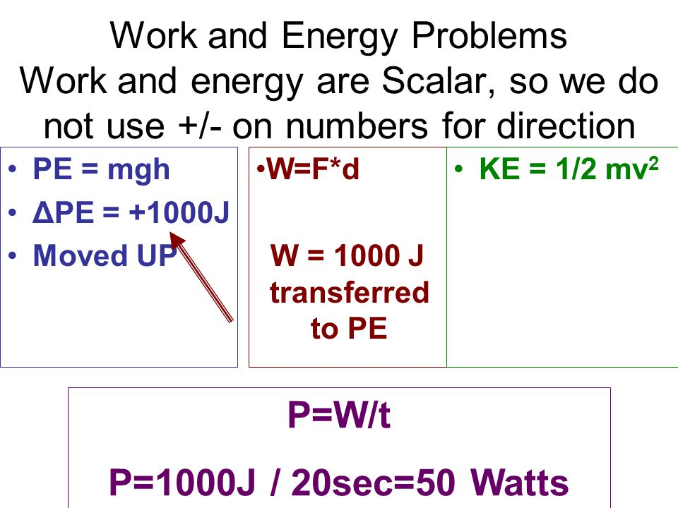 Work and Energy Problems Work and energy are Scalar, so we do not use +/- on numbers for direction PE = mgh ΔPE = +1000J Moved UP W=F*d W = 1000 J tra