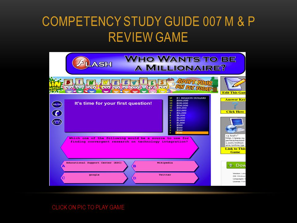COMPETENCY STUDY GUIDE 007 M & P REVIEW GAME CLICK ON PIC TO PLAY GAME