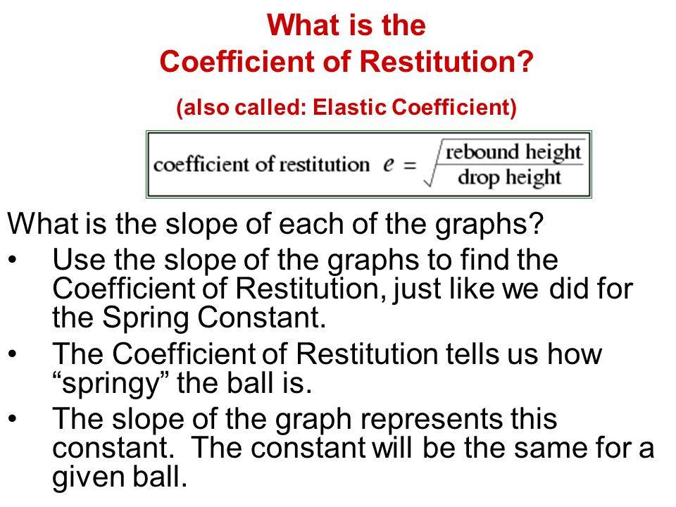 What is the Coefficient of Restitution? (also called: Elastic Coefficient) What is the slope of each of the graphs? Use the slope of the graphs to fin