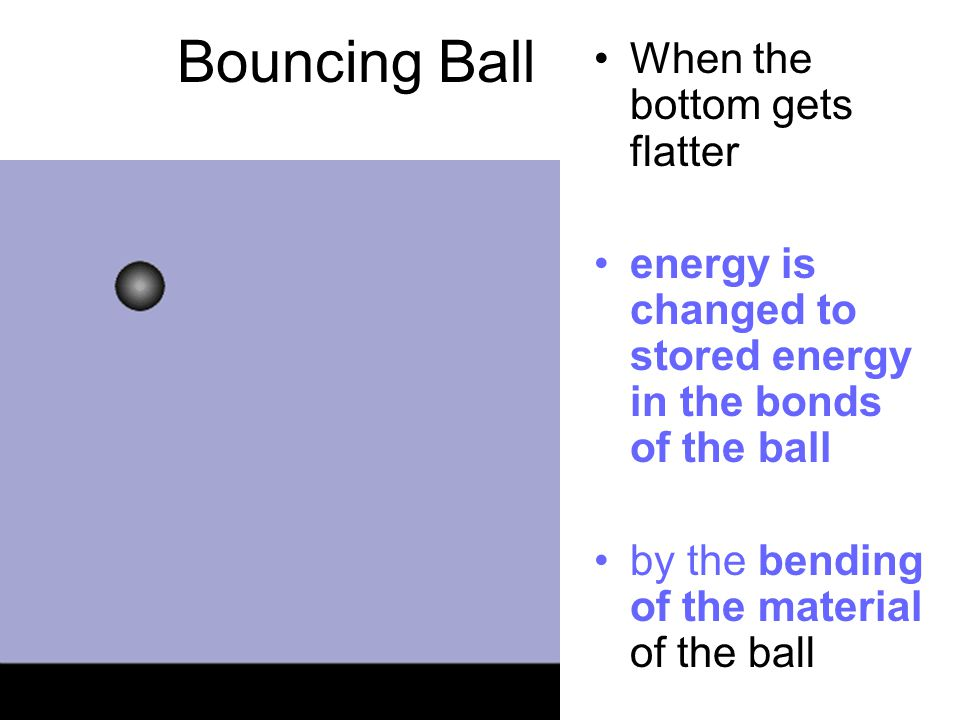 Bouncing Ball When the bottom gets flatter energy is changed to stored energy in the bonds of the ball by the bending of the material of the ball