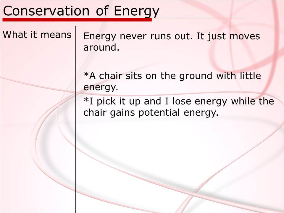 Conservation of Energy What it means Energy never runs out.